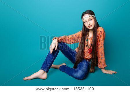 Portrait Of Beautiful Young Hippie Gir In Studio