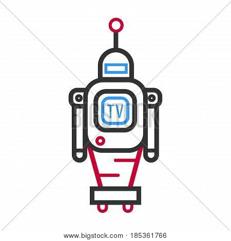 Minimalistic black, blue and red robot with TV screen, mechanic hands and big antenna that moves on wheels isolated vector illustration on white background. Retro automatic machine outlined sketch.