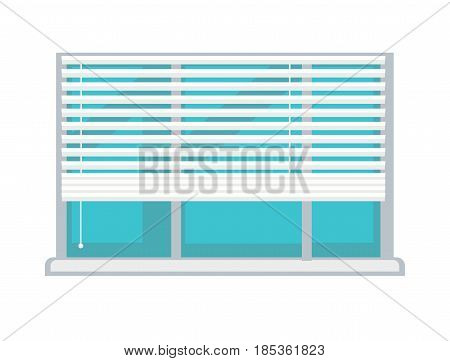 Large plastic window composed of three sections with blue sky view, white half-mast adjustable blinds, clean glass and small sill isolated on white background. Room part vector illustration.