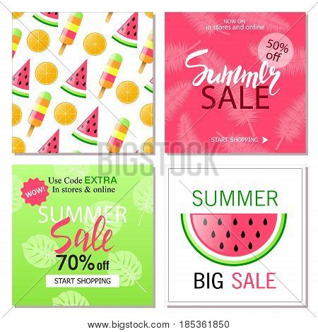 Set Of Summer Sale Banner Templates Wallpaper Flyers Invitation Posters Brochure