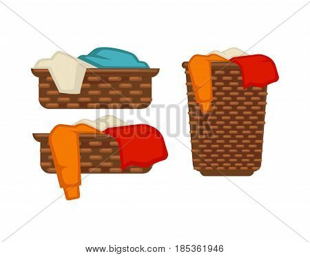 Wicker laundry baskets of small and big capacity full of dirty colorful clothes and linen inside isolated on white background. Convenient device to keep and carry washing vector illustrations set.