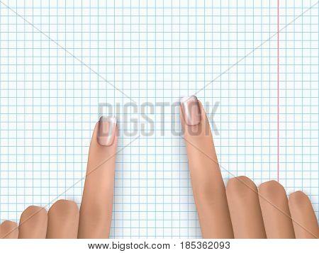 Finger Pointing Notebook Paper Forefinger Pick Paper White 1