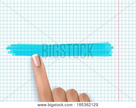 Finger Pointing Notebook Paper Marker Highlight Note 1