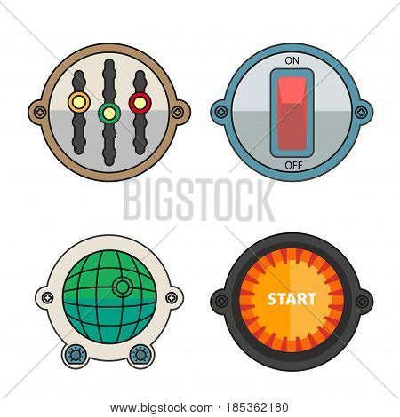 Regulator with three functions, simple on and off switcher, green radar with grid layout and point that shows location and big red starter isolated vector illustrations set on white background.