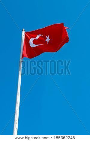 Turkey flag moving on blue sky at sultanahmet square Istanbul,Turkey