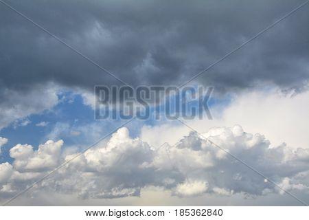 Rainy clouds of dramatic sky. Spring season