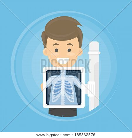 Man with x ray chest bones. Medical treatment.