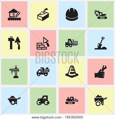 Set Of 16 Editable Construction Icons. Includes Symbols Such As Camion , Oar , Hands. Can Be Used For Web, Mobile, UI And Infographic Design.