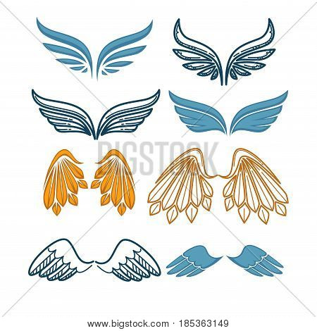 Set of company name logo emblems with angel wing on white background. Vector illustration of plumage in blue and golden color. Winged brand symbols of fast delivery, tatoo prints in flat style