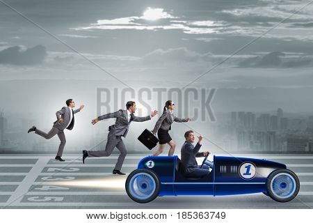 Competition concept with business people competing