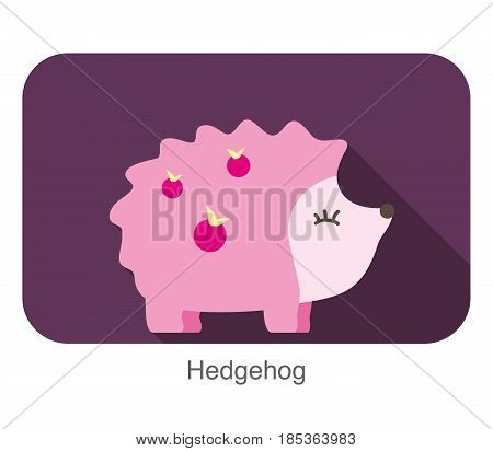 Cute Hedgehog cartoon flat icon, vector illustration