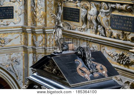 HILLEROD, DENMARK - JUNE 30, 2016: This is the figure of the Angel above the altar of the palace church of the Frederiksborg Castle.