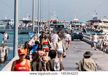 Chonburi, Thailand - November 2, 2012: Tourists Walking in Bali Hai Pier near Pattaya Beach the Route to Koh Larn (Ko Lan) Famous Attraction in Thailand