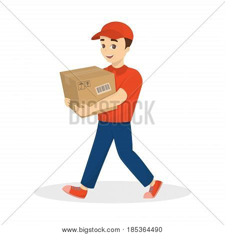 Isolated delivery man with parcel in red uniform on white background.