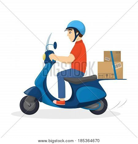 Isolated delivery man on the motorcycle with parcel on white background.