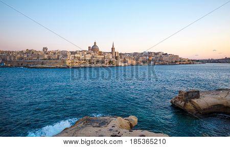 Valletta citiscape with bay rocky coast Malta EU