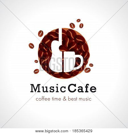 Music cafe logo, cup off coffee and guitar. Vector design brand sign for coffee shops and rock cafe bars. Coffee time & best music text