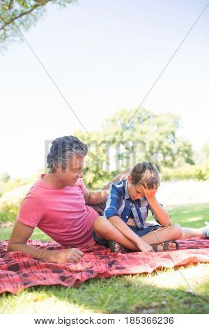 Father consoling his son at picnic in park on a sunny day