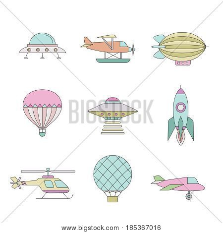 Air transportation outline colored icon set. Clean and simple design. Part three.
