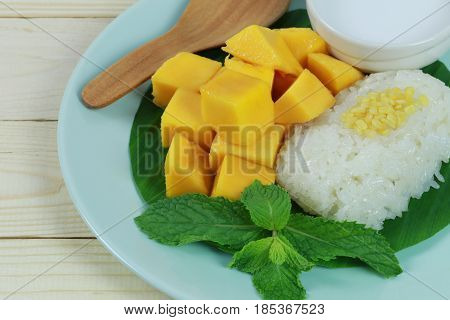 mango and sticky rice is popular traditional dessert of Thailand.