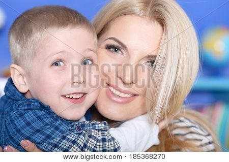 Portrait of a son with his mother