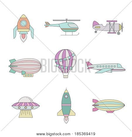 Air transportation outline colored icon set. Clean and simple design. Part five.