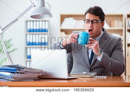 Sick businessman in the office