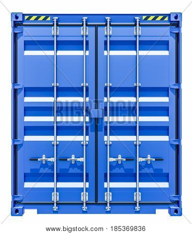 3d rendering of blue shipping container. Front view. Isolated on white