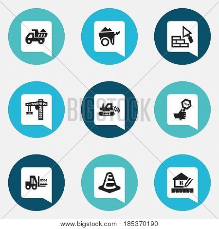 Set Of 9 Editable Building Icons. Includes Symbols Such As Handcart , Camion , Home Scheduling. Can Be Used For Web, Mobile, UI And Infographic Design.
