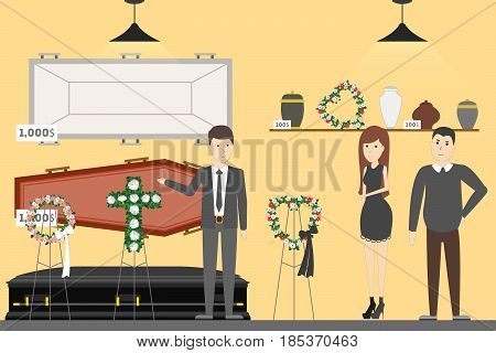 Funeral service bureau. Visitors in room with coffin.