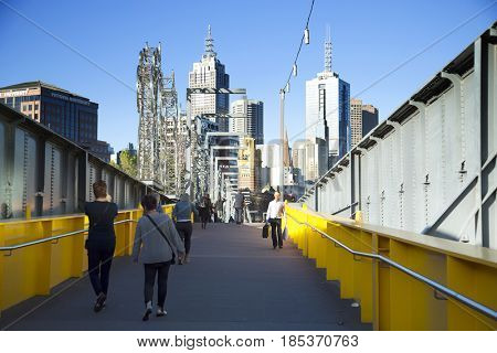 MELBOURNE, AUSTRALIA - OCTOBER 14, 2016: Yarra Trail is a shared use path for cyclists and pedestrians, which follows the Yarra River through the north eastern suburbs of Melbourne, Victoria Australia
