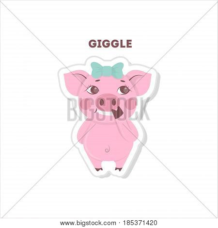 Giggling pig sticker. Isolated cute emoji on white background.