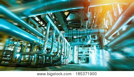 Blur, Blurred, Pipe, Pipeline, Machine, Interior, Inside, Plant, Oil And Gas Industry, Metal, Produc
