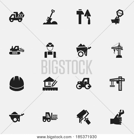 Set Of 16 Editable Structure Icons. Includes Symbols Such As Trolley , Handcart , Endurance. Can Be Used For Web, Mobile, UI And Infographic Design.