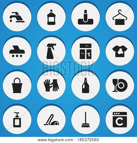 Set Of 16 Editable Hygiene Icons. Includes Symbols Such As Gauntlet, Plate, Hand Sanitizer. Can Be Used For Web, Mobile, UI And Infographic Design.