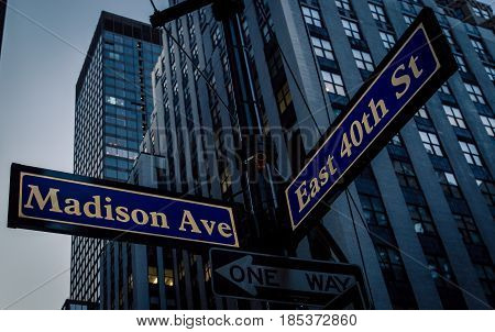 Street sign for madison avenue and east 40th street