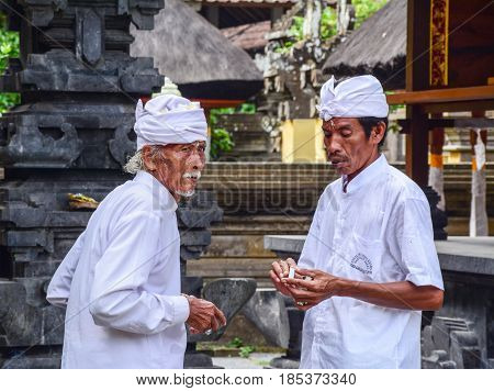 People Praying At Temple In Bali, Indonesia