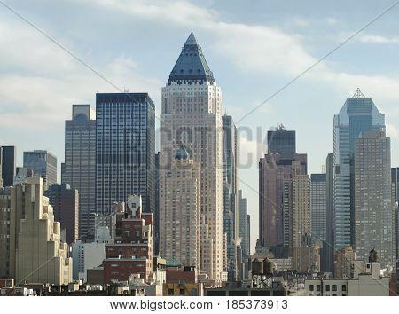 View of lower Manhatan skyline in New York USA
