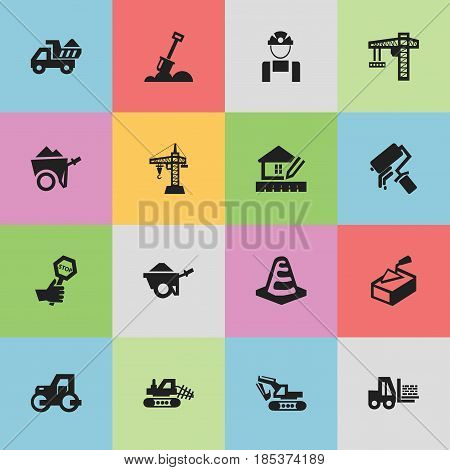 Set Of 16 Editable Building Icons. Includes Symbols Such As Lifting Equipment, Endurance, Scrub And More. Can Be Used For Web, Mobile, UI And Infographic Design.