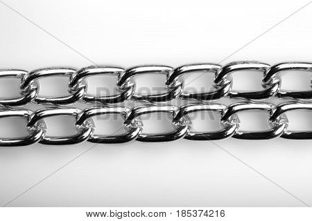 Chain Heap - Abstract Metal Background. Collection Silver Jewelry Chains On An Isolated Black Backgr