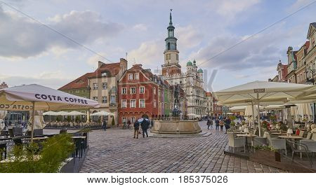 Poznan, Poland - April 29, 2017: Old Town Square On 29 April 201