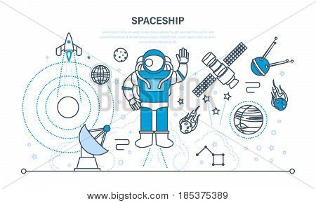 Set on a space theme, including a transport, cosmonaut, planets and related objects, satellites, instruments for tracking the cosmos. Illustration thin line design of vector doodles