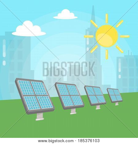 Solar battery illustration. Pannels outside with sun shining. Renewal energy.