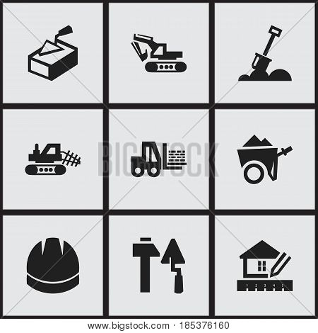 Set Of 9 Editable Building Icons. Includes Symbols Such As Handcart , Oar , Construction Tools. Can Be Used For Web, Mobile, UI And Infographic Design.