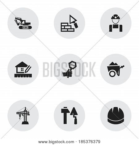 Set Of 9 Editable Building Icons. Includes Symbols Such As Hardhat, Endurance, Construction Tools And More. Can Be Used For Web, Mobile, UI And Infographic Design.
