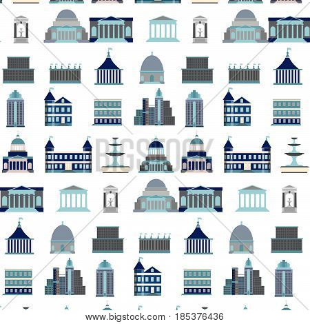 Vector pattern with city constructor.Vector illustration of buildings made in cartoon style. Colorful template for business card poster and banner. Big architectural collection in classical and modern styles.