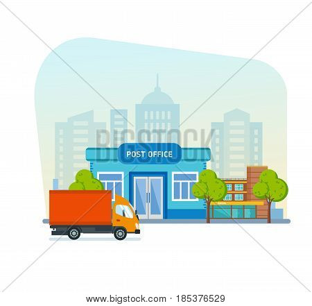 Post office service with postman riding car for delivery. Vector illustration isolated on background city of street.