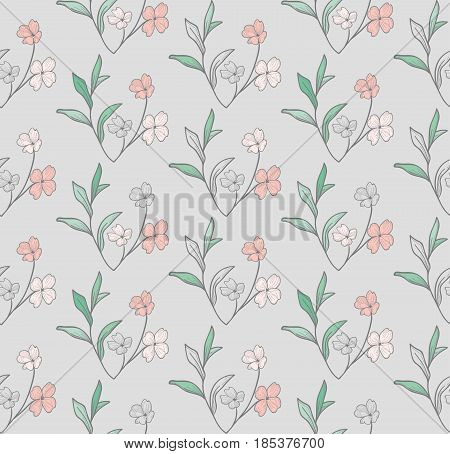Vector Colorful Decorative Seamless Backdround Pattern with Drawn Flowers, Herbs, Plants, Branches. Doodle Style Greenery, Foliage, Foliate. Vector Illustration. Pattern Swatch
