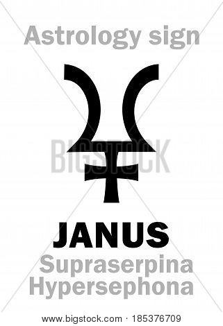 Astrology Alphabet: JANUS (Supraserpina/Hypersephone), 12th hypothetic giant dual planet (behind Pluto and Proserpine). Hieroglyphics character sign (single symbol).