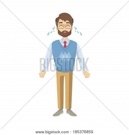 Isolated crying teacher with tears on whit background.